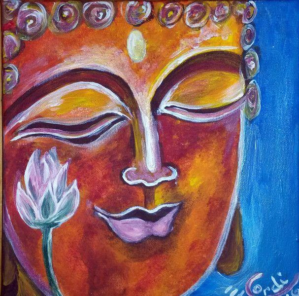 Acrylmalerei - Acrylbild Lächelnder Buddha - ein Designerstück von HOAMELIGundSCHEAN bei DaWanda