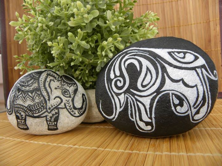 Elephant graphic painted stones.