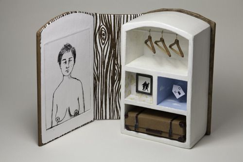 """Artists' book by Naz Rahbar. """"non being"""", dry-point print, miniature objects, screen printed wood pattern. Jan 2013"""