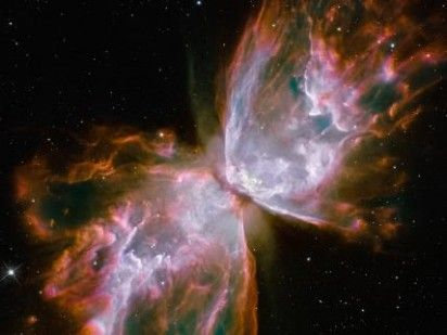 Planetary Nebula NGC 6302. Hubble image this is also called the butterfly nebula which is pretty explanatory.