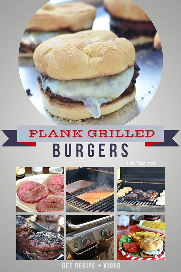 How to Plank Grill burgers. Black Pepper Encrusted Provolone Cheeseburger Recipe and video tutorial at TidyMom.net