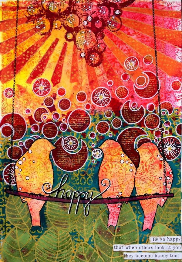 Gorgeous use of color by Mixed Media Artist: Birgit Koopsen for the Simon Says Stamp Blog.