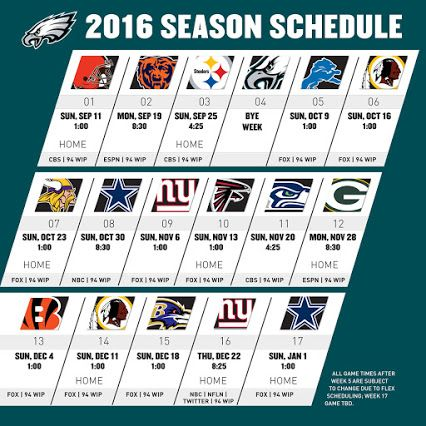 Philadelphia Eagles Games Schedule. Philadelphia Eagles will kick off their season against the Cleveland Browns. This will remain on 11th September (Sunday) 2016. In the history of the National Football League (NFL) it will be the 7th time that the two teams have challenged each other.  Philly.com, CBSSports.com, NFL.com, ESPN.com, foxsports.com, fbschedules.com these site will help you to get Philadelphia Eagles Games Schedule and others update information.