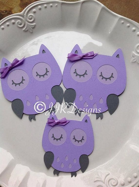 owl owl die cut purple gray by jjrdesigns purple owls lavender owls