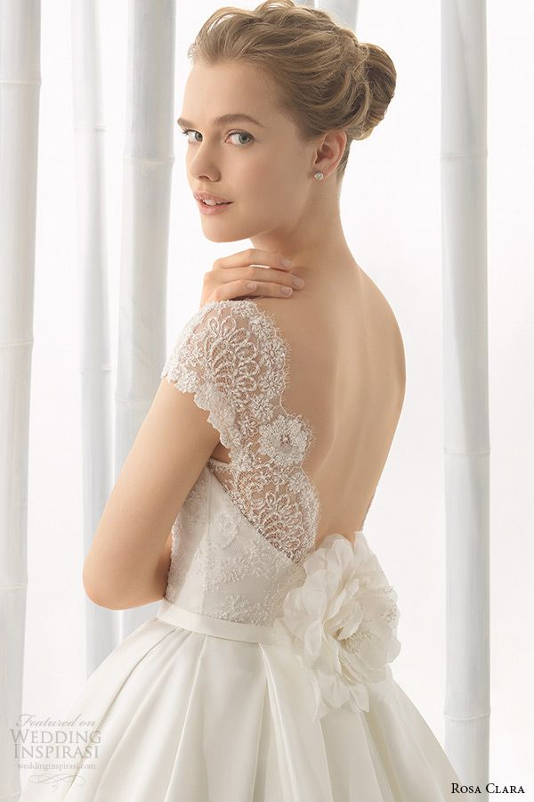 rosa clara 2016 bridal collection bateau neckline short sleeves wedding ball gown dress low cut back daroca -- Rosa Clara 2016 Wedding Dresses Preview