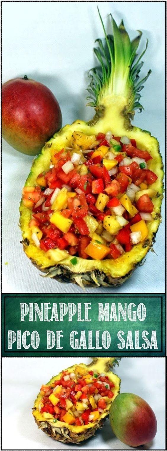 Mango Pineapple Pico de Gallo Salsa All Fresh Ingredients! A wonderful little appetizer, a great snack, a BEAUTIFUL presentation, an AMAZING topping for a hamburger for your next BBQ! Serve with a bag of Fritos. Tropical fresh Mangos, Sweet Pineapple, and Savory Tomatoes combine for one of my most beloved dishes. PLUS - DIY How to make a Pineapple Boat Photo Essay