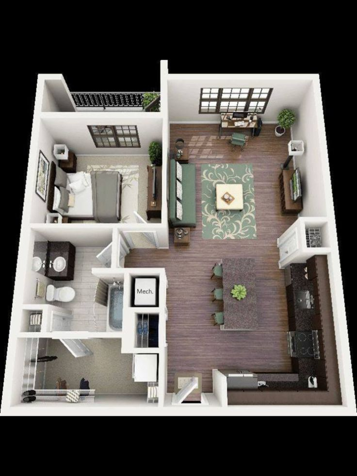 2 Bedroom House Plans: Very Nice And Comfortable Planning Of The Apartment