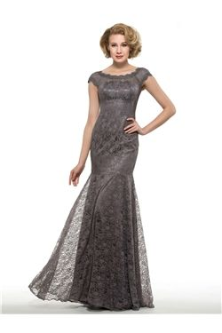 Short Sleeves Lace Evening Jewel Floor-Length Elegant & Luxurious Natural Fall Dress
