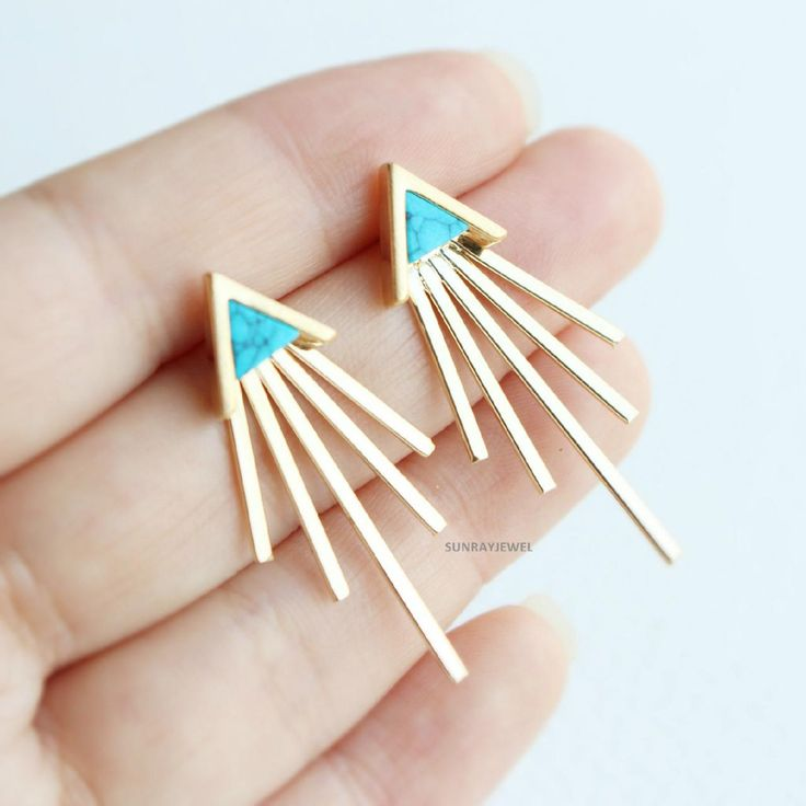 Chevron Turquoise Front Back earrings in gold, Triangle Stud earrings, Geometric studs