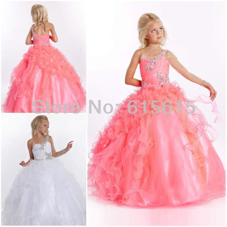 Cheap dresses uk, Buy Quality dresse directly from China dress paypal Suppliers: Cheap One Long Sleeve Beading Ruffle Tulle Satin Flower Girl Dress Little Girl Pageant Dress&nbs