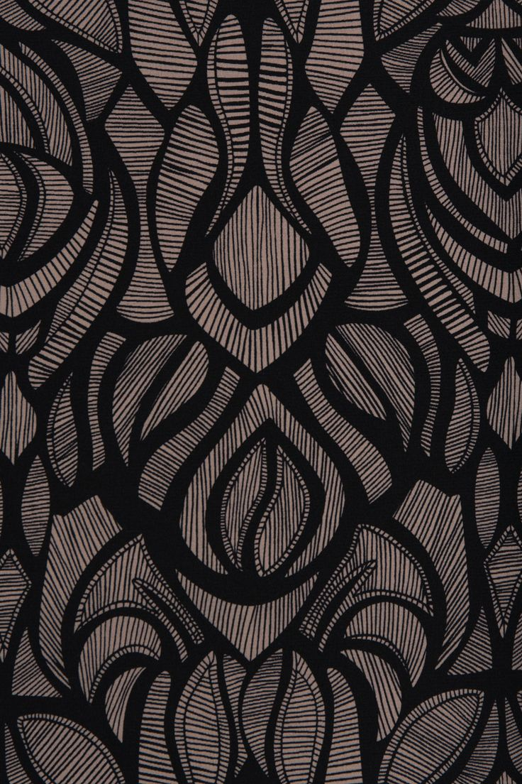 Pure silk fabric with a black and taupe abstract design | Indiesew