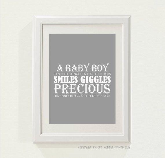 Grey A Baby Boy Nursery decor baby nursery by SweetSiennaPrints, $18.00