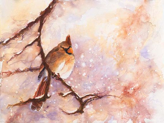 MAGICAL Winter Female Cardinal  Snowy  Branch  by CheyAnneSexton