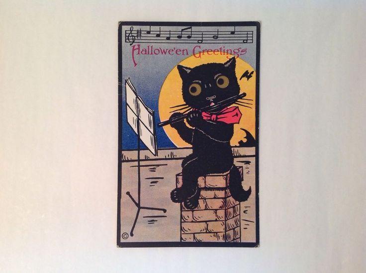 Postcard Big Eye Black Cat Playing Flute On Chimney Bats Flying In Full Moon Halloween