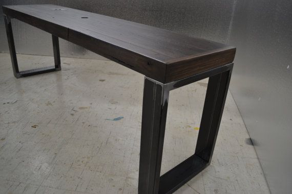 Stained Oak Bench - Industrial Steel Legs With Character Fully Intact on Etsy, $679.25 CAD