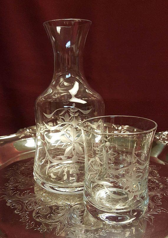 Vintage Etched Glass Bedside Carafe & Tumbler Tumble Up