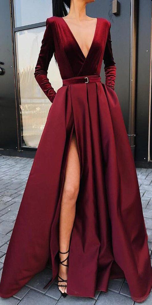 Burgundy V Neck Long Sleeves Side Slit Long Prom Dresses, SG157