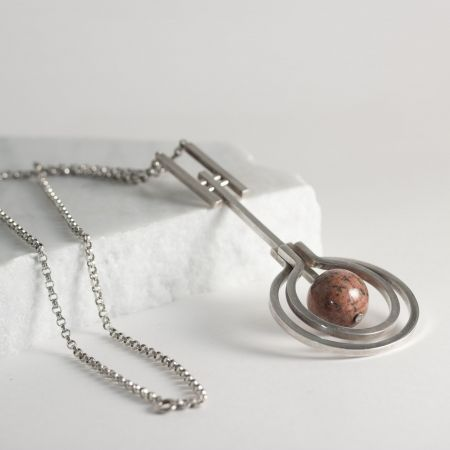 Silver and granite necklace from Permona-Smide Ateljé