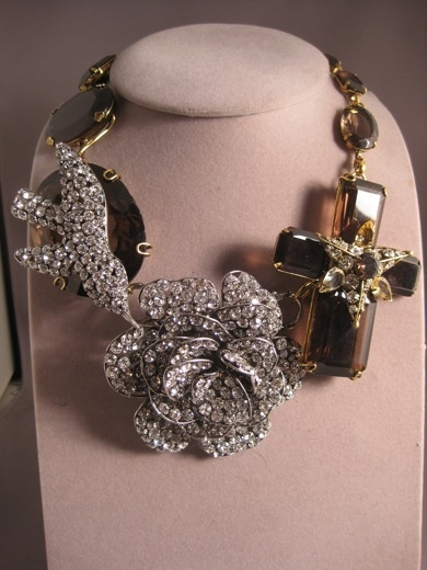 Iradj Moini necklace Topaz citrine and crystals rose becomes a pin