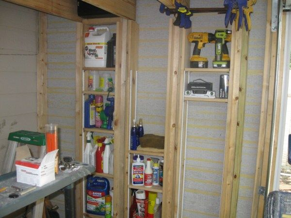 Shed Organization Storage Cabinets And Installed Used Slatwall .