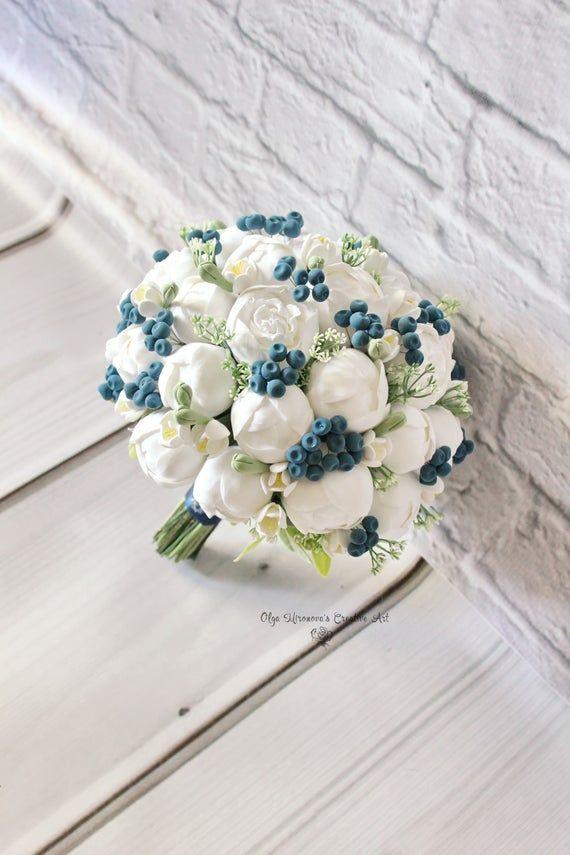 White Peony Bouquet White Navy Wedding Bouquet Faux Bridal