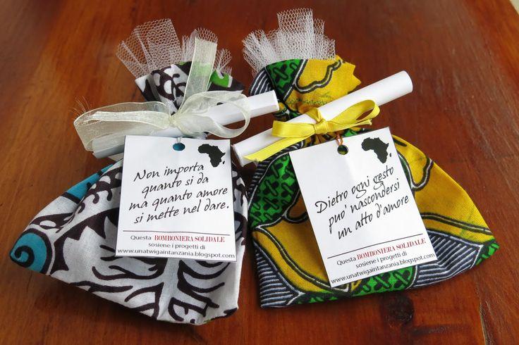 Una Twiga in Tanzania: Bomboniere solidali Idea for wedding..