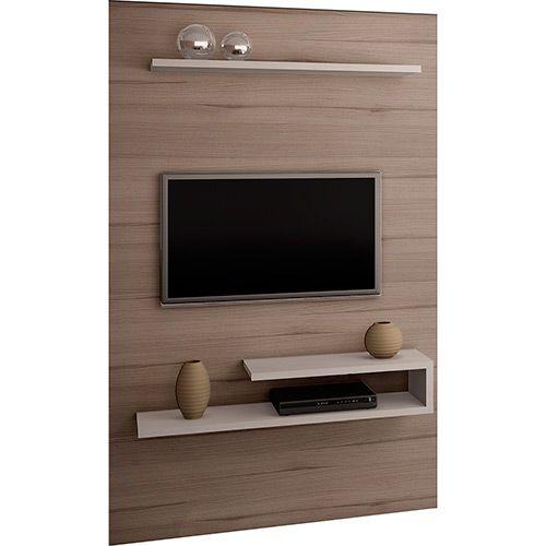 Painel para TV até 55 3056 2 Prateleiras Grigio/Montego Blanc - Quiditá Móveis