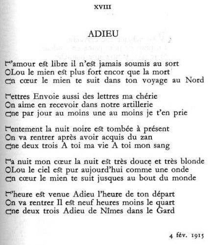 Adieu est un po me tr s connu d apollinaire en acrostiche - Commentaire compose le dormeur du val ...