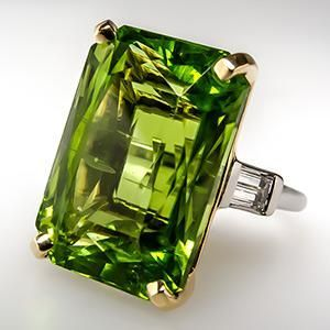 19 Carat Burma Peridot Cocktail Ring Platinum & 18K Gold