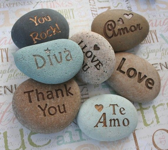 Custom engraved gifts - Personalized your message stone by sjEngraving