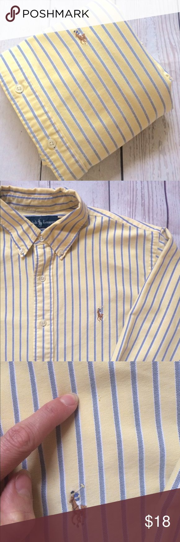 """🎈SALE🎈1/$18•2/$30•Polo•Ralph•Lauren•S•Shirt• SALE👔1/$18•2/$30•3/$45•4/$61•Choose any available Polo Ralph Lauren button front Oxford shirts that say SALE in the title🎈NO OFFERS WILL BE ACCEPTED OR FURTHER REDUCTIONS TAKEN 🎈men's  long sleeve button front 100% cotton oxford shirt. Size L CLASSIC FIT per tag•RUNNING SMALL•Signature pony at chest•no fraying• small thin spot on front, as pictured• Chest: 24"""" Length: 28"""" Sleeve: 33"""" Shoulder: 18"""" Polo by Ralph Lauren Shirts Dress Shirts"""