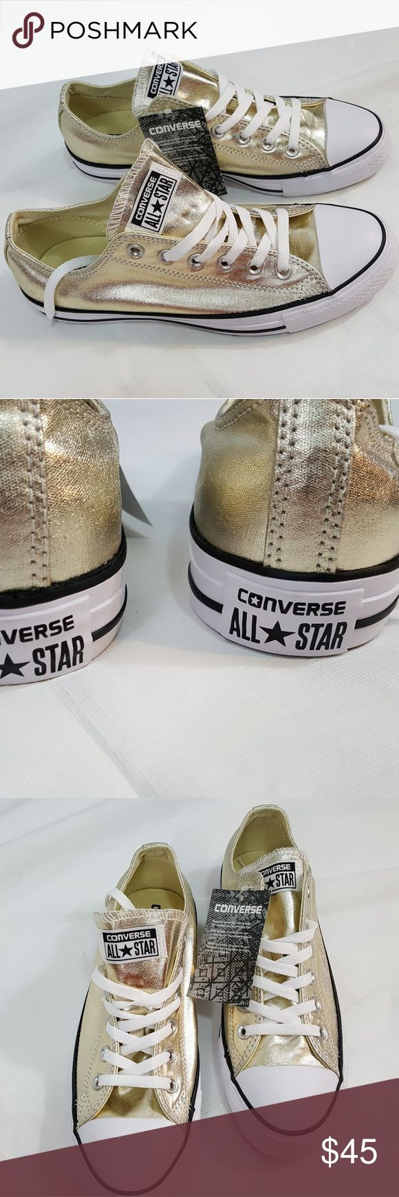 Converse All Star  Metallic Gold Unisex Sneaker Men's size 7  Women's  size 9  Top box open.  NEW   Non smoking environment Converse Shoes Sneakers