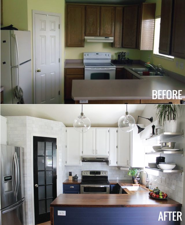Great kitchen redo! Love the pantry door, fixtures, and navy & white.