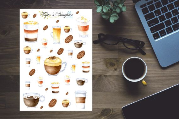 Decorative planner stickers, Coffee lover - €2.70