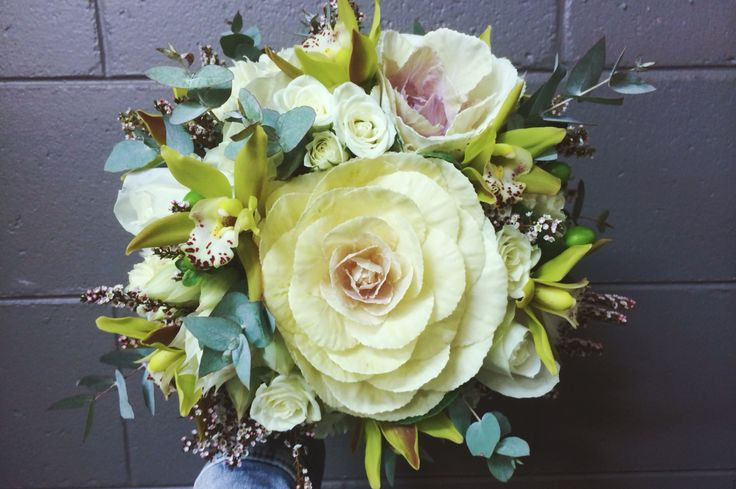 Garden posy, whites and greens  flowers: kale, spray roses, cymbidium orchids, tea tree, paper whites, roses and gum