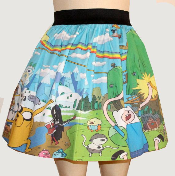 """Adventure Time cotton poplin skirt with 2"""" wide black elastic waistband 19"""" from top of waistband to hem"""
