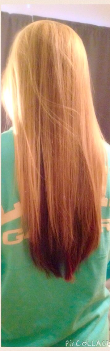 Blonde highlights on top & auburn color underneath. I'm in love with my hair
