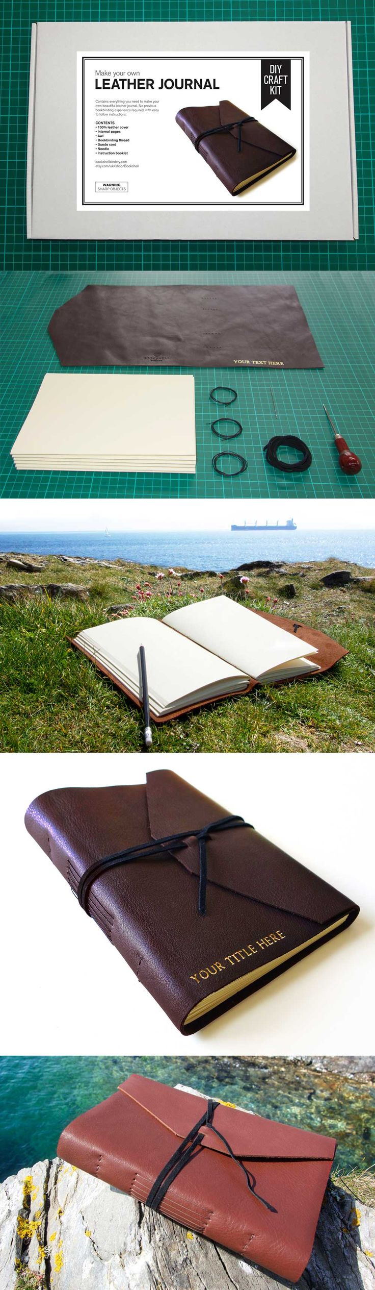 For all you budding crafters, take a look at our DIY leather journal kit, which comes with blank or lined pages, and can be personalised with your own title.  Makes a great mens gift for your dad, boyfriend, husband, or brother. Available in black, dark brown or light brown cowhide leather.