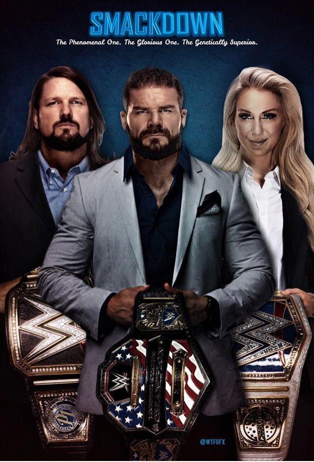 AJ Styles WWE Championship, Bobby Roode WWE United States Championship & Charlotte Flair WWE Smackdown Women's Championship