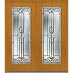 Milliken Millwork 66 in. x 81.75 in. Cadence Decorative Glass Full Lite Mahogany Finished Fiberglass Exterior Double Door, Fruitwood