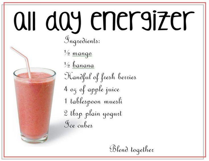 #Energy smoothie     * 1/2 cup mango  * 1/2 banana  * handful of fresh berries  * 4 oz of apple juice  * 1 tbsp muesli  * 2 tbsp plain yogourt  * ice cubes     #smoothie, #recipe
