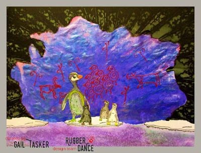 * Rubber Dance Blog *: March Challenge Reminder Greeting Card with Penguins