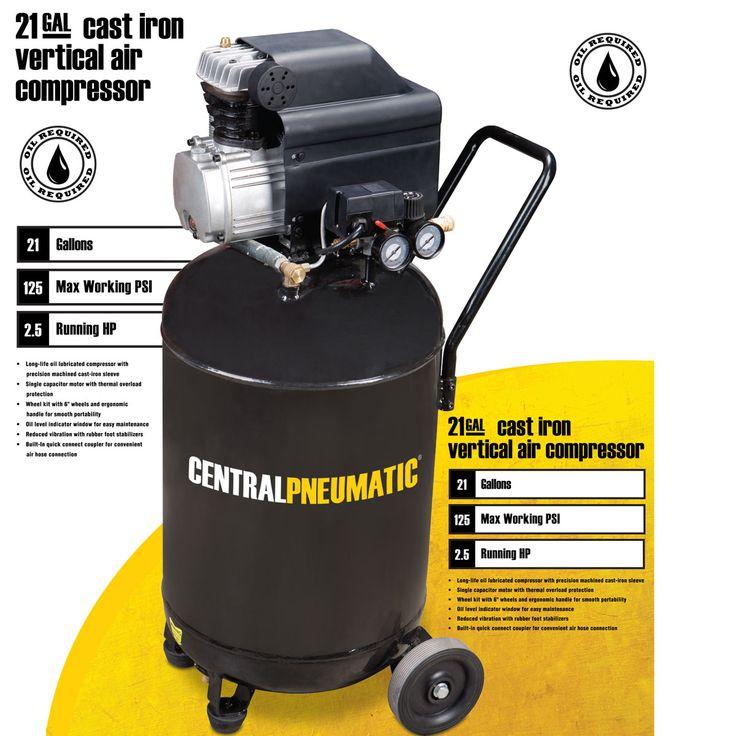 2.5 Horsepower, 21 gal., 125 PSI Cast Iron Vertical Air Compressor