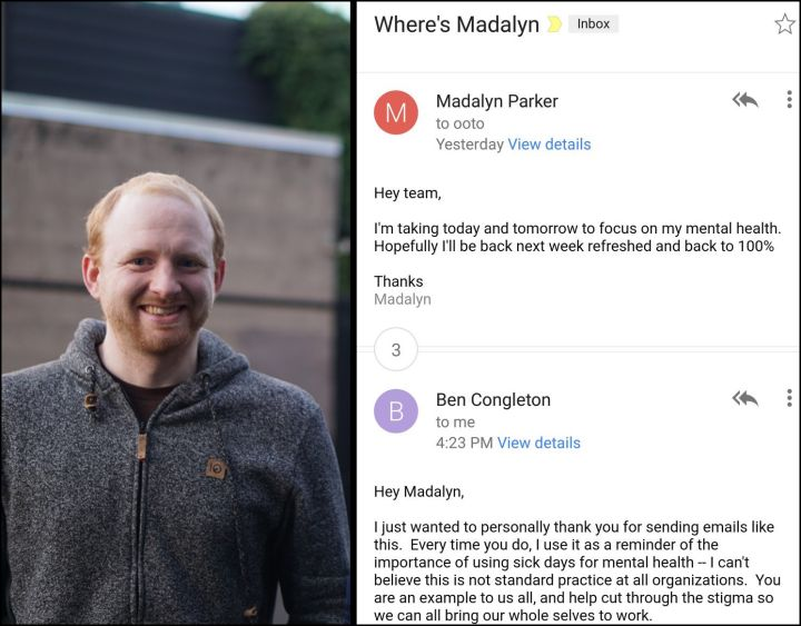 A web developer emailed her colleagues to let them know she would be using two sick days to focus on her mental health. Here's her CEO's amazing response..
