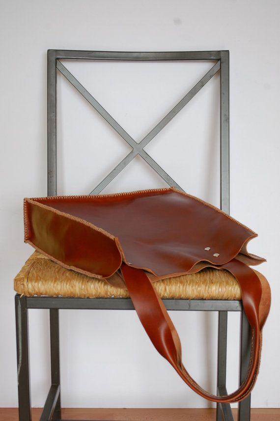 Dark Brown leather tote bag summer tote bag por santileather, €90.00