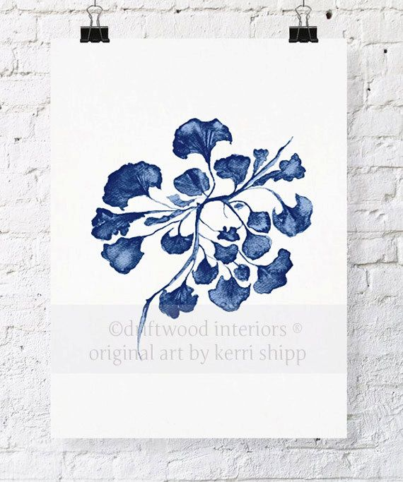This is a print of my original watercolour painting of sea fan in a deep denim blue, and was inspired by my love of vintage botanical