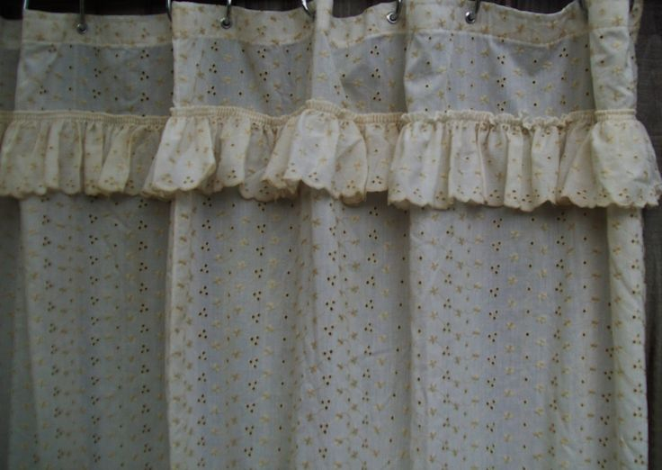Jolo Ivory Lace Eyelet Fabric Shower Curtain With Attached
