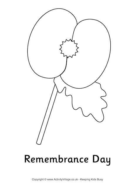 print this simple remembrance day colouring page featuring a large poppy the sort that is sold to raise money
