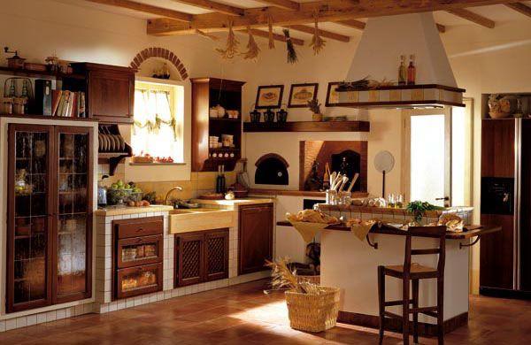 Cucine in muratura semplici per esterni celesti di abete for Progetti cucine in muratura rustiche