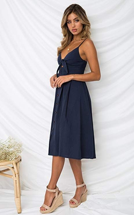 79fc9530f07 ECOWISH Womens Dresses Summer Tie Front V-Neck Spaghetti Strap Button Down  A-Line Backless Swing Midi Dress at Amazon Women s Clothing st…